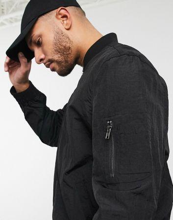 ASOS DESIGN oversized bomber jacket with MA1 pocket in black