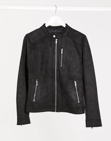 Bershka suede bomber jacket in black