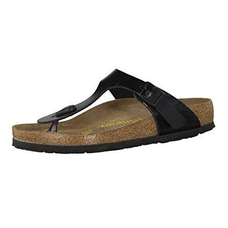 Birkenstock Gizeh Birko Flor Patent Womens Black Sandals