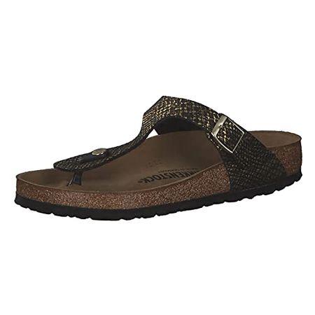Birkenstock Gizeh Womens Shiny Python Black/Gold Sandals