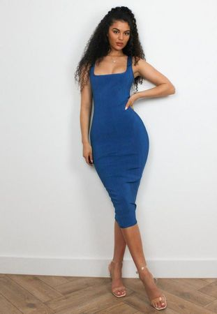 Blue Bandage Scoop Front Midi Dress, Blue