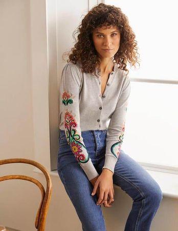 Boden Somerset Embroidered Cardigan Silver Melange Women Boden Cotton Size: 10