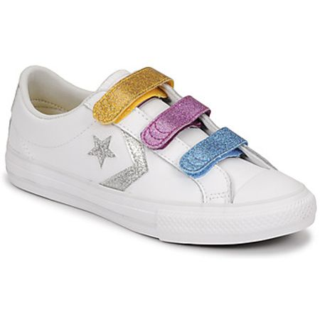 Converse  STAR PLAYER 3V GLITTER TEXTILE OX  girls's Shoes (Trainers) in White