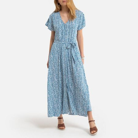 Floral Midaxi Dress with Tie-Waist Short Sleeves