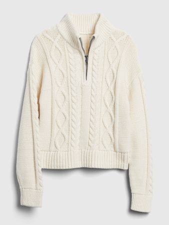 Gap Girls' Cable Knit Sweater Ivory Frost Size S