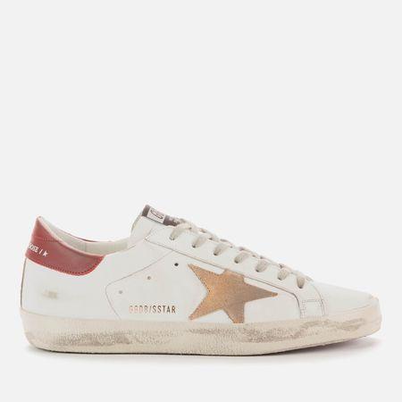 Golden Goose Deluxe Brand Men's Superstar Leather Trainers - White/Cappuccino/Bordeaux - UK 9