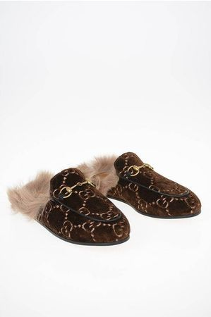Gucci Chenille Sabot with Fur size 35