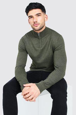 Mens Green Long Sleeve Half Zip roll/polo neck Jumper, Green