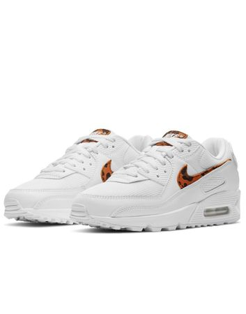 Nike Air Max 90 trainers in white and leopard print-Multi