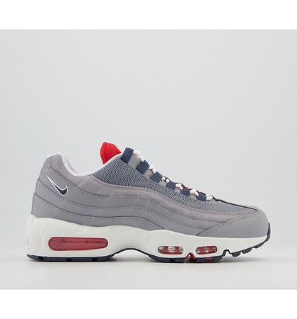 Nike Air Max 95 Trainers GREY THUNDER BLUE CHILE RED WHITE