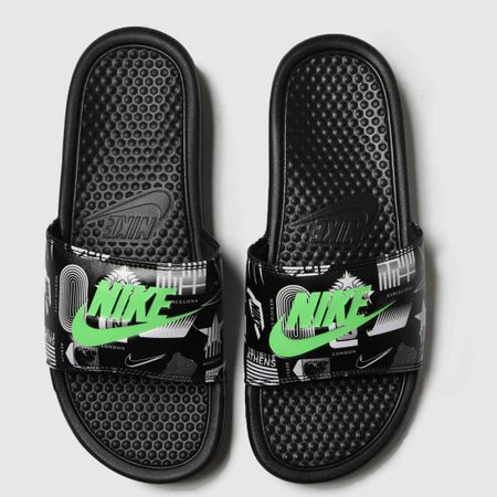 Nike Black & Green Benassi Jdi Sandals