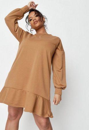 Plus Size Camel Frill Hem Midi Sweater Dress, Camel
