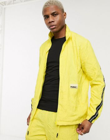 Puma evide tape jacket in lime-Green