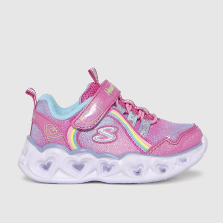 Skechers Pink Heart Lights Rainbow Trainers Toddler