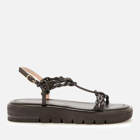 Stuart Weitzman Women's Calypso Leather Flatform Sandals - Black - UK 3