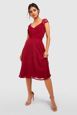 Womens Chiffon Lace Midi Skater Bridesmaid Dress - Red - 12, Red