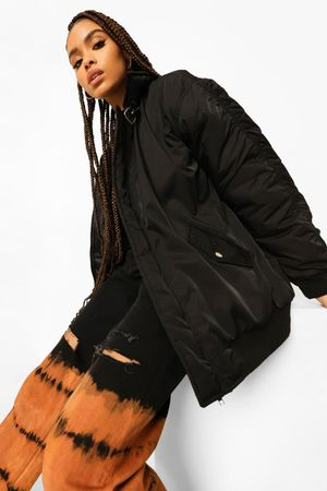 Womens Ruched Sleeve Oversized Buckle Detail Bomber - Black - 10, Black