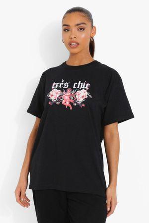 Womens Tres Chic Cherub Printed Oversized T-Shirt - Black - S, Black
