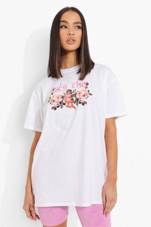 Womens Tres Chic Cherub Printed Oversized T-Shirt - White - S, White
